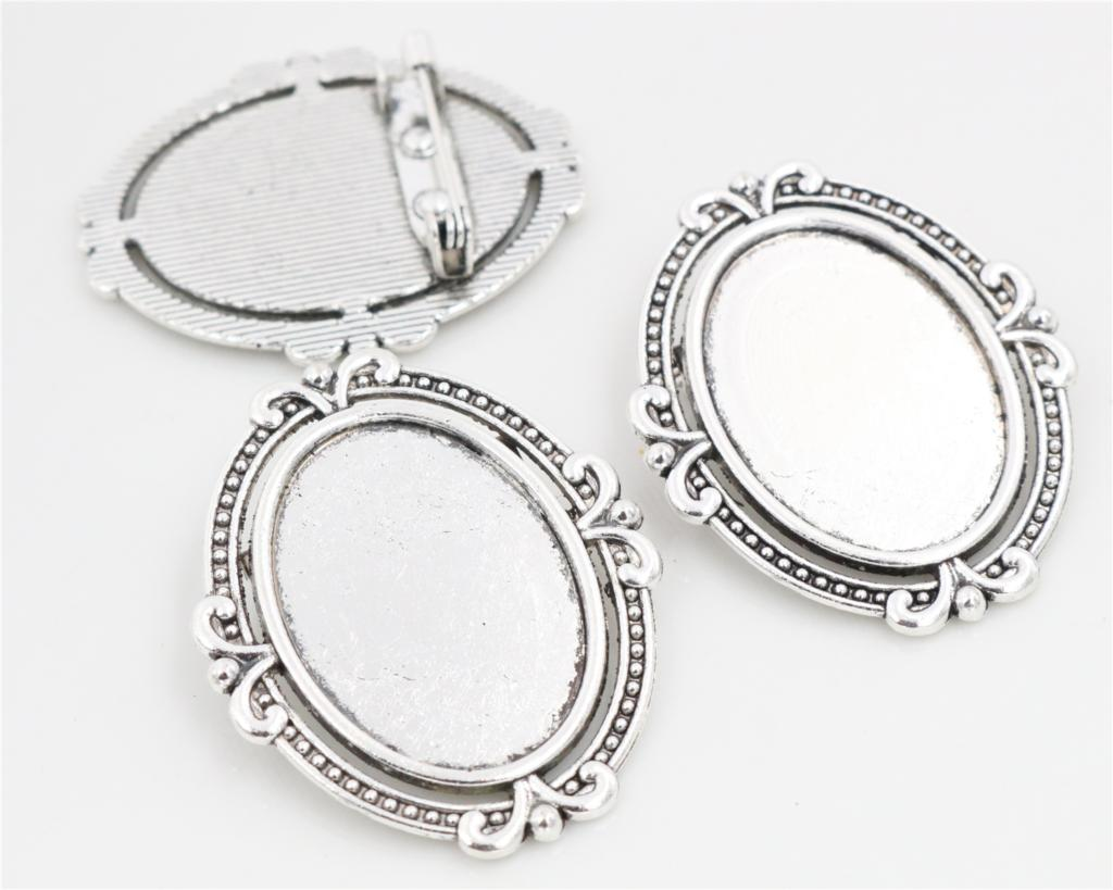 5pcs 18x25mm Inner Size Antique Silver Brooch Pin Classic Flower Style Cameo Cabochon Base Setting Tray-C1-39 3pcs 18x25mm inner size antique silver brooch pin classic style cameo cabochon base setting c2 30