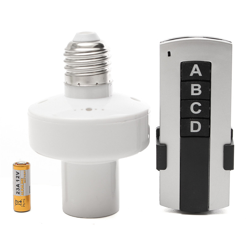 E27 Screw Wireless Remote Control Light Lamp Bulb Holder Cap Socket Switch AC 220V On Off 315Mhz