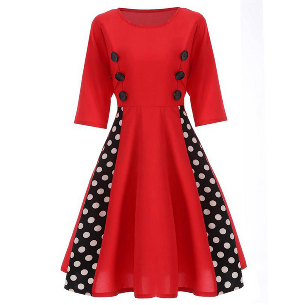 Sexy Vintage Dress for Women 50s Dot Elegant Summer Patchwork Retro Dress Casual Evening Party Half Sleeve Patchwork Rockabilly