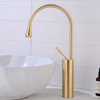 Solid Brass Brushed Gold Faucet Bathroom Basin Faucet Cold Hot Sink Mixer Dorp Taps Deck Mounted Art Water Faucet Black Crane