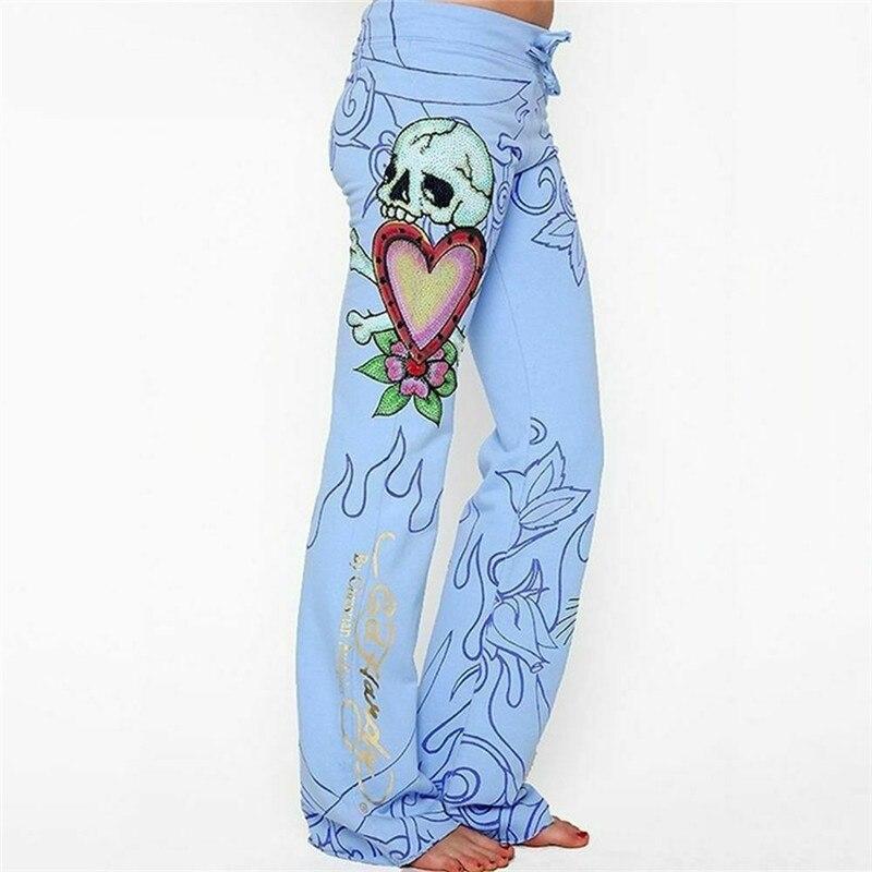 Fashion Women Floral pattern Print Wide Leg Pant Ladies Summer Casual Baggy Skull Rose Pants Loose Hippie Wide Leg Boho Trousers
