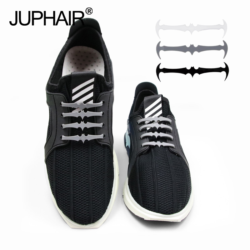 JUP 1 Set 12 Roots Men Silicone lazy laces Cool Bats Lace Adult-free Elastic Laces Patented Product No Tie Shoelaces Rubber Slip jup 3 set 12root set noctilucent laces tie elastic silicone mens women fluorescent flash sneakers sports runnings shoelaces