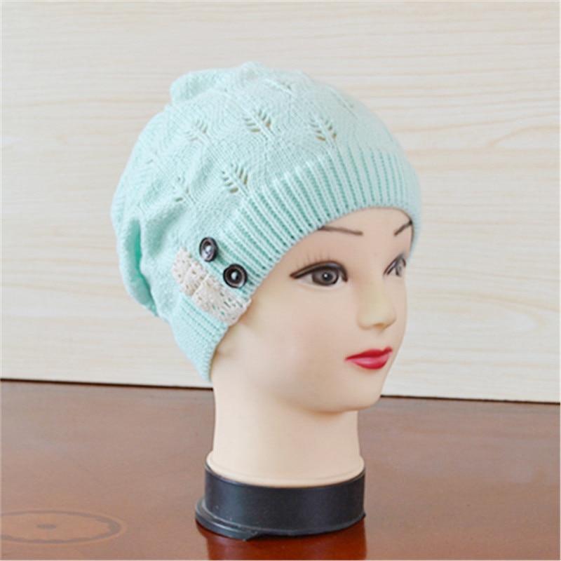 4ba035842df The New Ms. Warm Wool knit leaf lace Sleeve Button Head Cap Skullies ...