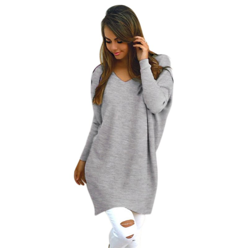 Autumn Women Sexy V Neck Chunky Knitted Oversized Baggy Sweaters ...