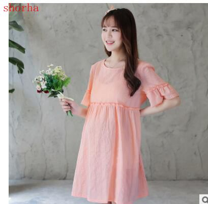 4421a619dd1c Maternity dress summer cotton and linen dress short sleeve fashion lace  sweet pregnant women skirt long section size M XL-in Dresses from Mother    Kids on ...