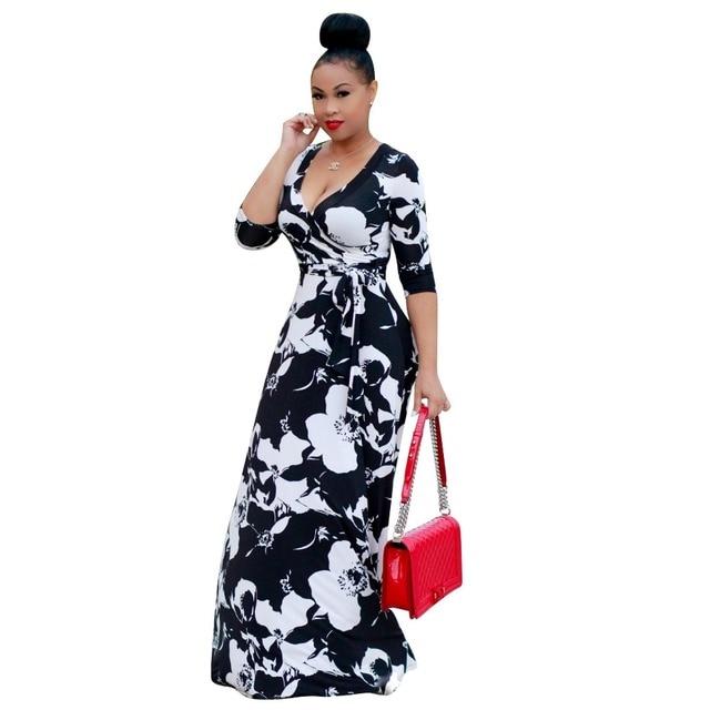 23a10c376ec Tilapia 2017 nouveautés printemps automne mode femmes robe maxi longue sexy  col en v ankara robe