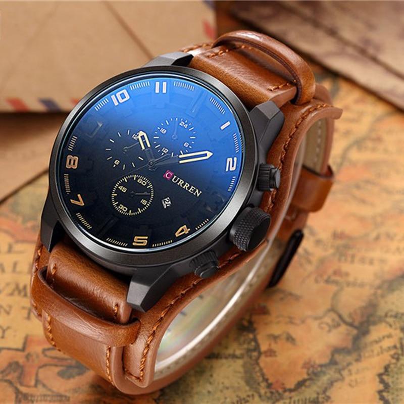 Fashion Men Date Stainless Steel Leather Luxury Analog Quartz Sport Wrist Watch Gai
