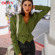 8d88365c279b92 OOTN Cotton Crop Top Blouse Puff Sleeve Tops Tunic Women Green Shirts  Blouses V Neck Slim Ladies Sexy Vintage Button 2019 Blusas