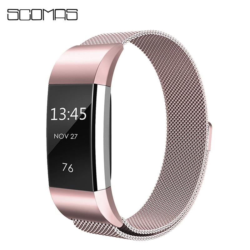Scomas Edelstahl Milanese Bands für Fitbit Ladung 2 Magnetische Ersatz Armband Strap für Lade 2 Uhr Zubehör