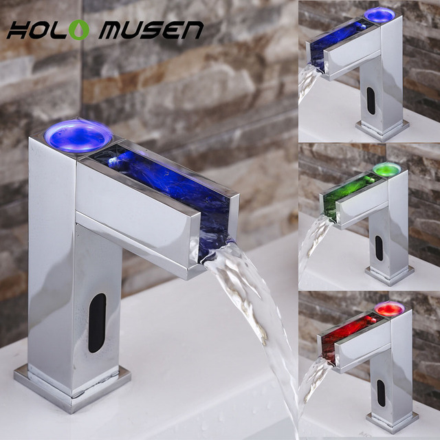 Hygienic Hands Free Automatic Infrared Sensor LED Bathroom Faucet Mixer  Inductive Waterfall LED Faucet Water Saving