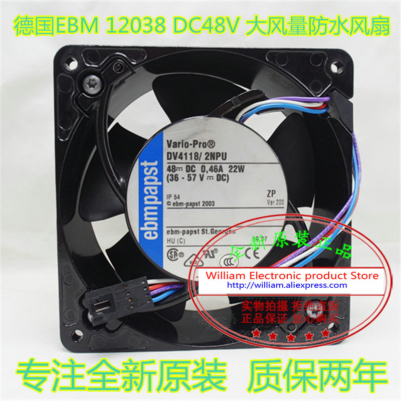 New Original EBM PAPST DV4118/2NPU DC48V 0.46A 120*120*38MM 12CM IP54 waterproof aluminum frame air humidifier cooling fan original delta afb1212hhe r00 dc12v 0 70a 3wires 120 120 38mm 12cm alarm signal cooling fan