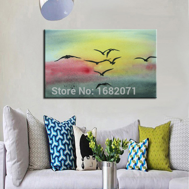 Atfart Living Room Hall Wall Art Handmade Landscape Oil: Hand Painted Unique Landscape Sea Gull Oil Painting On