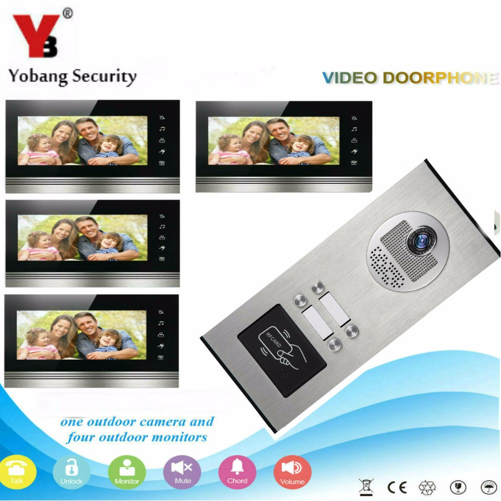 YobangSecurity 4 Units Apartment Video Door Intercom 7Inch Wired Video Doorbell Door Phone Intercom RFID Access Control System yobangsecurity 6 units apartment video intercom 7 inch lcd wifi wireless video door phone doorbell video recording app control
