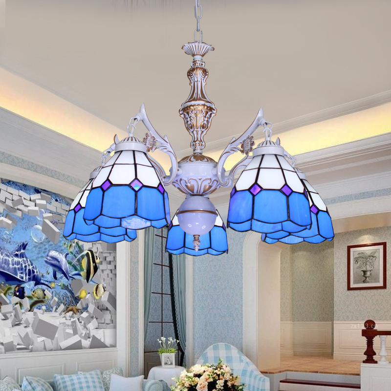 Antique Tiffany Hanging Lamp Value: 5 Light Tiffany Chandelier Antique Bronze Blue Glass