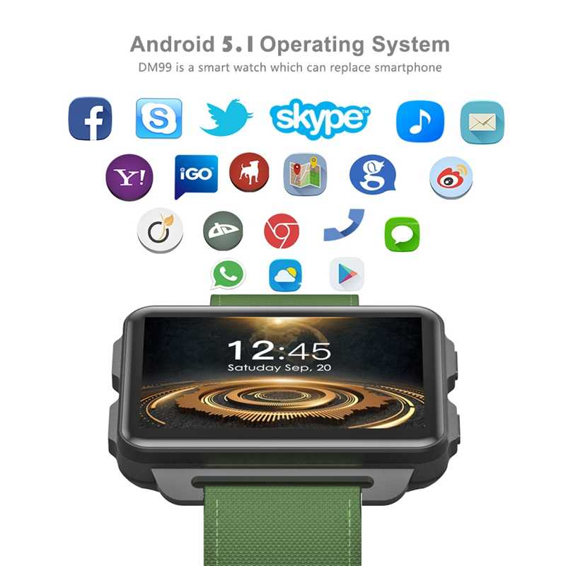 DM99 smartwatch update of DM98 MT6580 Quad Core 2 2 inch IPS screen  1GB+16GB Android 5 1 OS 1 3 MP camera 3G network GPS wifi