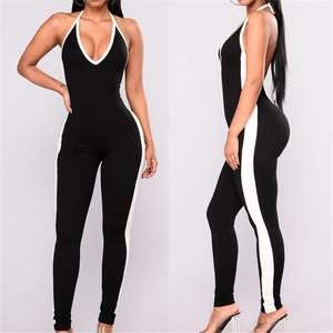 6ab63002f2cf Fashionable Colorblocking Figure Flattering Hip Lifting Sexy Sports Fitness  Strappy Jumpsuit Rompers Yoga Casual Pants