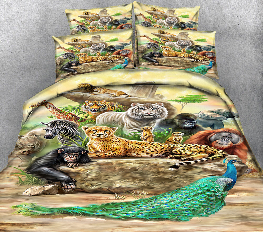 New Product 3D printed 4 Pcs Bedding Set Microfiber Bedclothes flowers Bed Linens Duvet Cover Set Bed Sheet Peacock pattern - 2