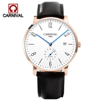 CARNIVAL Men's Automatic Fashion Top Brand Sport Mechanical Watch Leather Strap White Dial Simple Watch Waterproof Male Clock
