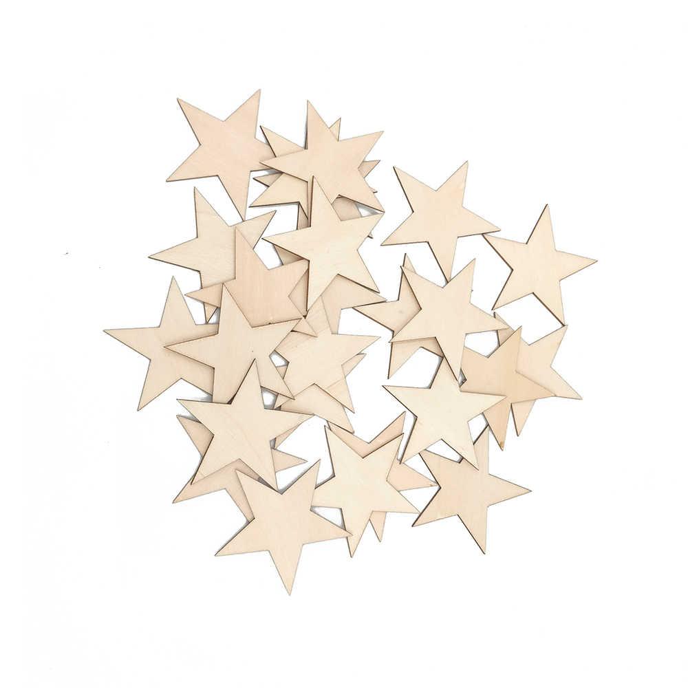 200pcs Unfinished Wooden Shape Star Embellishments for Card Making 10//20mm