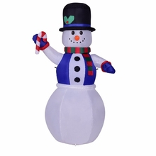 6 Foot 180CM Inflatable Lighted Santa Hat Snowman Blow Up Toys Yard Holiday Christmas Winter Decoration With Candy Stick