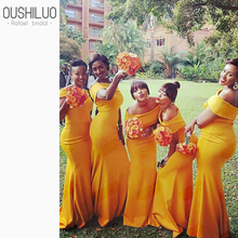 Chic Yellow Mermaid Bridesmaid Dresses Black Women African Summer Lawn Wedding Boat Neck Off Shoulder Prom Plus Size