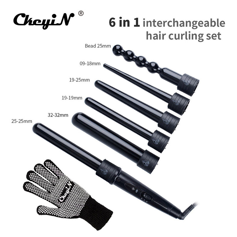CkeyiN  6 In 1 Ceramic Curling Wand Hair Curler Set Pro Interchangeable Barrel 9MM-32MM Tourmaline Curling Iron Tongs Machine ckeyin 9 31mm ceramic curling iron hair waver wave machine magic spiral hair curler roller curling wand hair styler styling tool