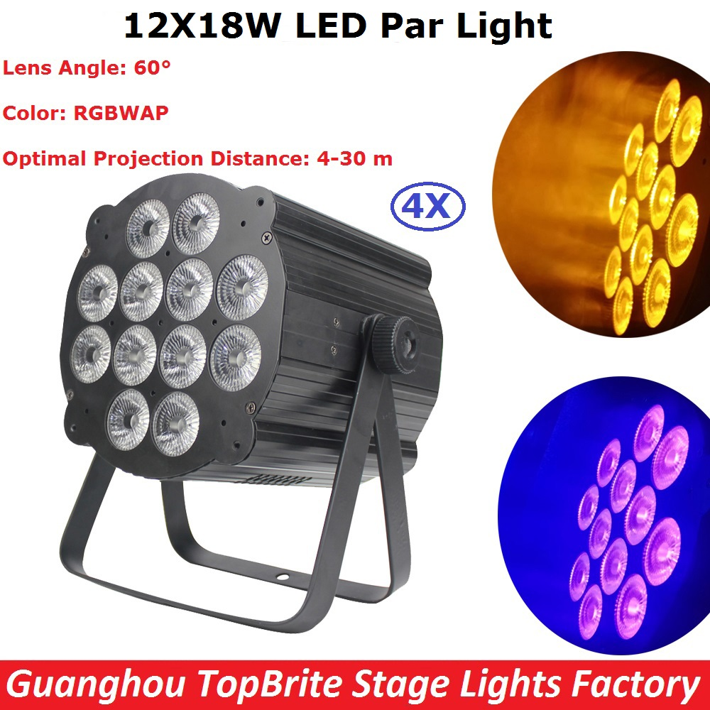 4Pcs Hot Sale 12X18W RGBWAP 6IN1 Led Par Light DMX Stage Lights Business Lights Professional Flat Par Can For Party KTV Disco Dj 2 pcs lot led par 18x12w rgbw light dmx stage lights business lights professional flat par can for party ktv disco dj ligthing