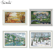 Joy Sunday Autumnal Scenery Cross Stitch Fabric Aida Printed Canvas Embroidery Kit 14ct Counted DMC DIY Handmade Needlework Sets