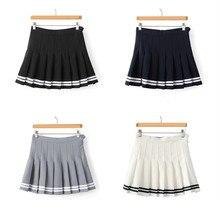 Полосатая мини-юбка выпускник в стиле Харадзюку стиль Kawaii Женская юбка-плиссе Jupe Faldas школьная форма милые дамы Saia
