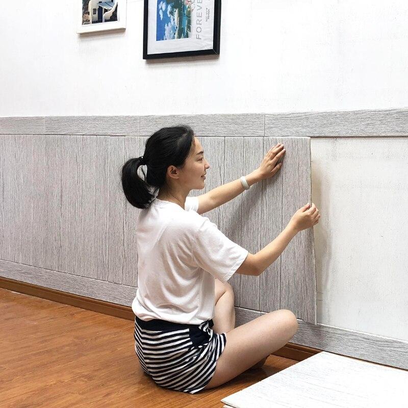 >3D PE Foam Wood grain Panel Wall Stickers For Kids <font><b>Rooms</b></font> <font><b>Home</b></font> <font><b>Decor</b></font> Removable Kids Safty Art Mural Self-adhesive DIY Wallpaper