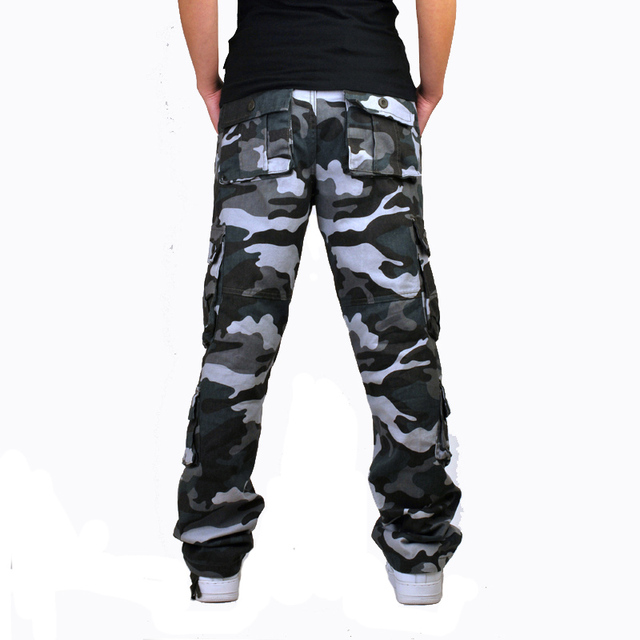Mens Camouflage Baggy Cargo Pants Military Loose Fit Multi-pocket Casual Cotton Work Straight Tactical Overalls Trousers 4