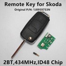 Дистанционного Ключа Автомобиля Чип для Skoda Fabia Octavia Частота 434 МГц с ID48 1J0959753N 1J0 959 753 N