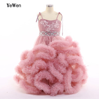 YeWen Cloud Little Flower Girls Dresses For Weddings Party Frocks Sexy Children Embroidery Kids Prom Dresses