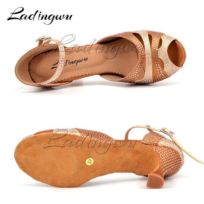 Ladingwu 2018 New Glitter Rhinestone Latin Dance Shoes Women Satin Salsa Dancing Shoes For Woman Tango Ballroom Shoes For Dacne