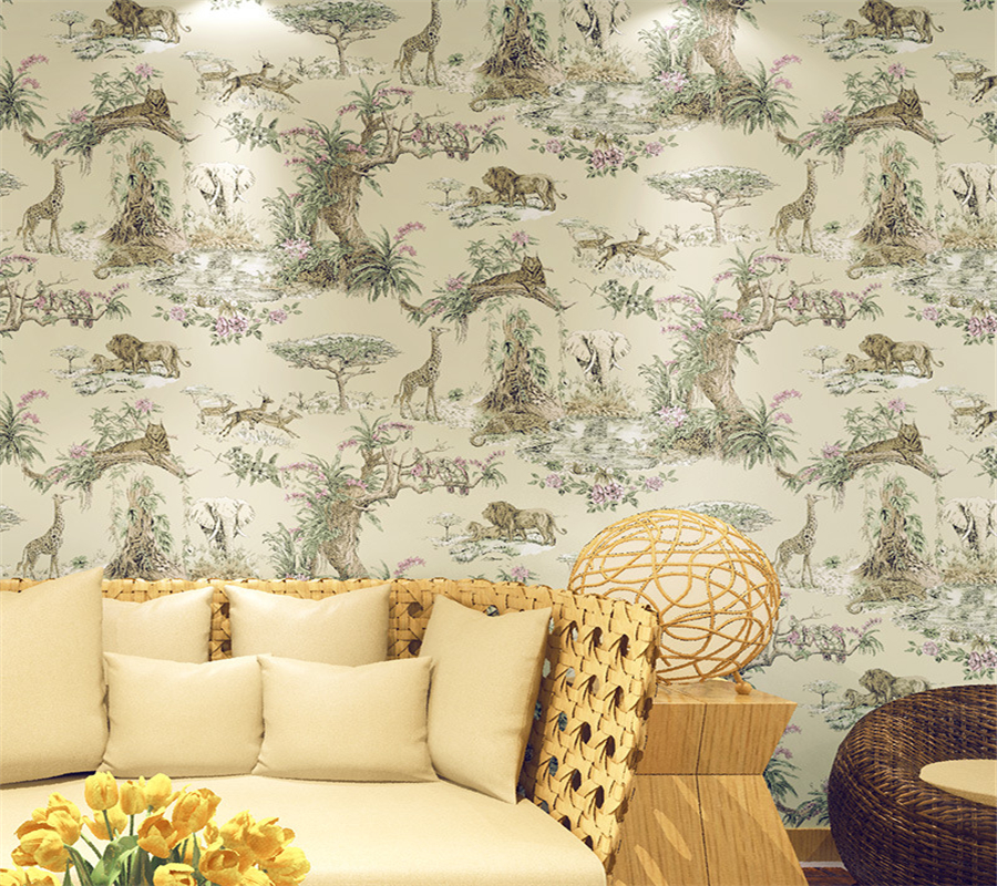 Beibehang wall papers home decor Southeast Asia elephant zoo 3D wallpaper personalized ink pattern large mural wallpaper roll