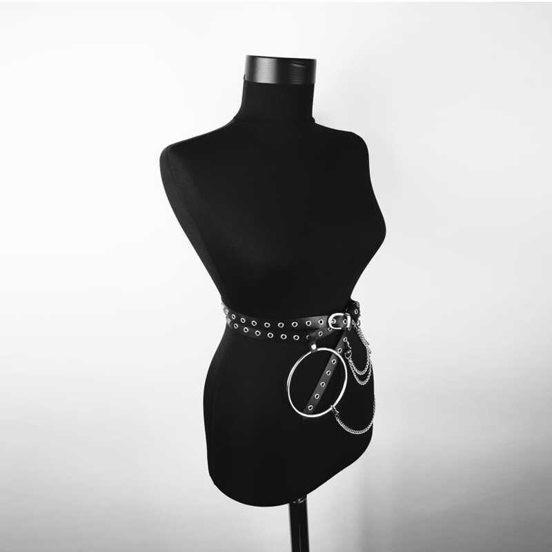2019 kadın PU deri demeti vücut kemer zincir bel esaret bel jartiyer Punk ayarlanabilir askı kayışları Harajuku jartiyer