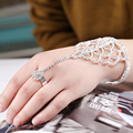 Trendy Crystal Chain Rings Bracelet & Bangles With Ring Women For Party Wedding Jewelry Accessory Women Fashion Rings BH020