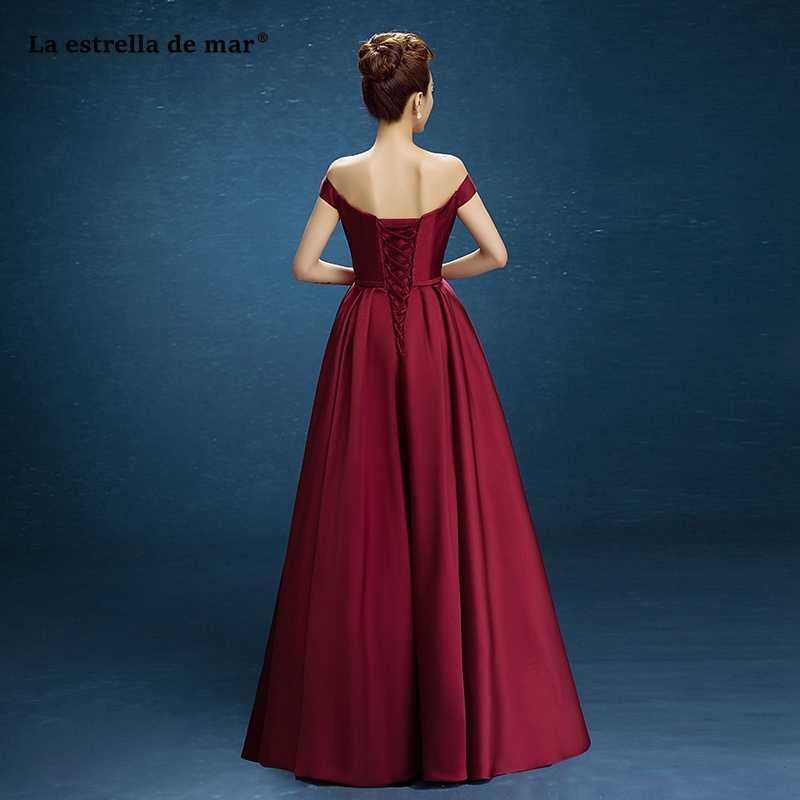... Abito damigella2018 new Boat Neck satin short sleeve a Line Burgundy  bridesmaid dress long cheap gaun ... 1173228db14a