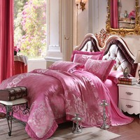 Luxury GOOD Quality Jacquard Silk Bedding Set 4pcs Satin Bed Sets Duvet Cover King Queen Bedclothes