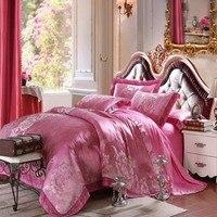 Luxury GOOD quality Jacquard Silk Bedding Set 4pcs Satin Bed Sets Duvet Cover King Queen Bedclothes Bed Linen Sets 29 colors