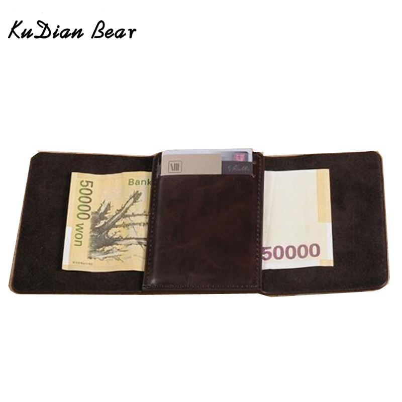 KUDIAN BEAR Leather Men Money Clips Magnet Women Clips For Money Slim Coin Holder Vintage Card Wallet-- BID057 PR49