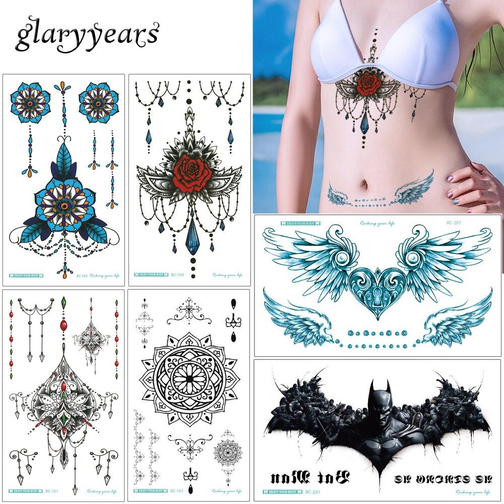 Glaryyears 19 Designs 1 Sheet 13.8*24cm Sternum Chest Temporary Tattoo XT-BC Big Body Art Sticker Jewelry Pendant Tattoo Fashion