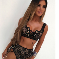 Sexy Lace Solid Color Summer Beach Bathing Suit Push Up Swimsuit Women Swimwear Bikini Set High