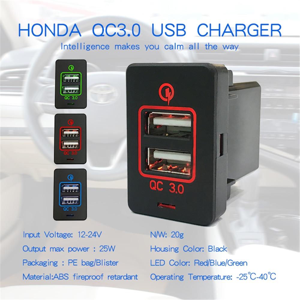 1PCS 5V /9V/12V  For HONDA Dual USB Car Quickly Charging 2 QC 3.0 Port Auto Adapter LED Voltmeter Socket Honda 12-24V