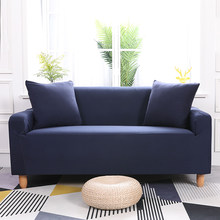 Dark Blue Universal Stretch Solid Color Duvet Cover Set Elastic Sectional Sofa Covers Home Decor Corner/Couch Sofa Slipcovers(China)