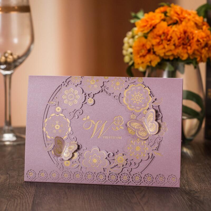 50pcs / pack Purple Romantic Nunta Eveniment Party Invitație Card - Produse pentru sărbători și petreceri
