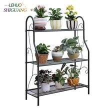 3 capas de hierro al aire libre jardín estanterías para plantas estante de almacenamiento montaje Simple extraíble dormitorio maceta de hierro estante de hierro para balcón