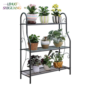 Image 1 - 3 layers Iron Outdoor Garden Plant Shelves Storage Shelf Simple Assembly Removable Bedroom Flower Pot Iron Rack for Balcony