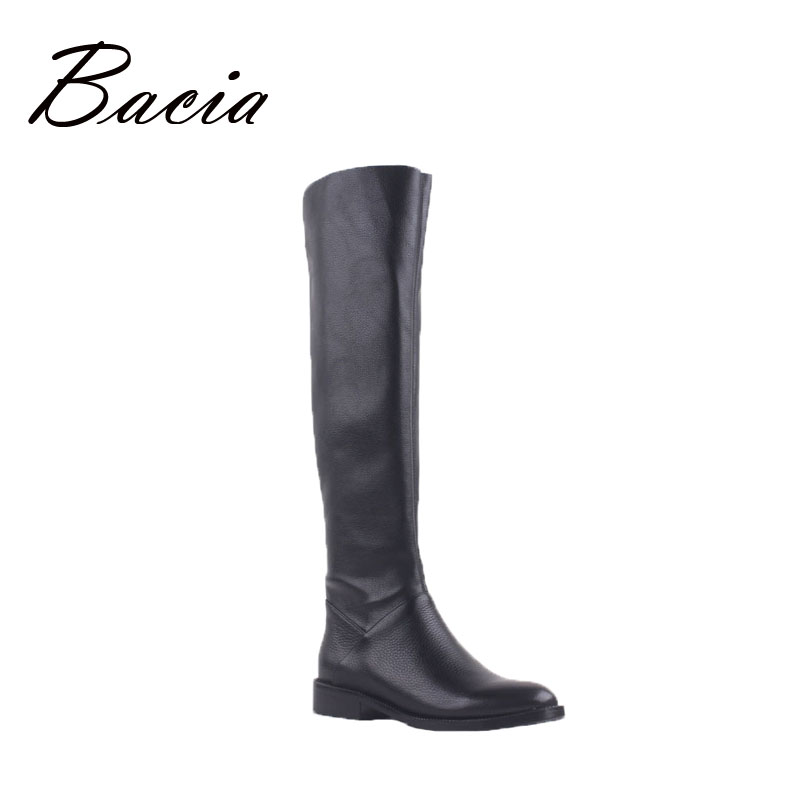 Bacia Leather + PU Solid Black Overknee Boots of heigh 50cm Women Autumn Fashion Ladies low heel Boot Shaft length 50cm VD002