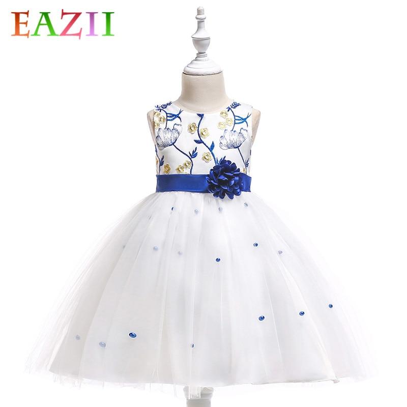 EAZII New baby tutu princess dress for girl elegant flower birthday party girl dress Baby girl's Summer clothes vestidos robe
